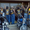 Former Alberta Rebels celebrate after becoming Bandidos in 2004. Within months, most joined the Hells Angels. Julian Carsini photo.