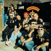 No Surrender Crew gathering in backyard of James (Ripper) Fullager Including, from left to right, Glenn Atkinson (far left, standing), Frank (Cisco) Lenti (second from left, sitting), Joey (Crazy Horse) Campbell and John (Boxer) Muscedere (red head band), Julian Carsini photo.