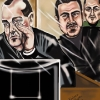 Left to right, Michael (Taz) Sandham, Marcelo (Fat Ass) Aravena and Dwight (Dee) Mushey, on trial for mass murder Karlene Ryan illustration